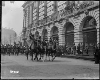 Mounted officers and an Australian military band on parade, London