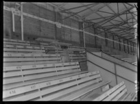 Press benches in the stands at Athletic Park, Wellington