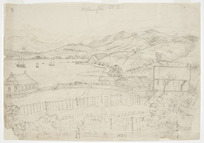 Collinson, Thomas Bernard 1822-1902 :Wellington N. Z. 1849. Gov[ernmen]t House. Te Aro Pah. Barracks on Mount Cook. The Baron's. Constitution Hill. One of the churches.