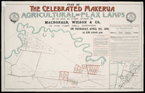 Plan of the celebrated Makerua agricultural and flax lands [cartographic material] / Thomas Ward, surveyor.