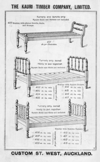 The Kauri Timber Company Ltd (Auckland Office) :[Beds]. Turnery and scrolls. [Catalogue page. ca 1906].