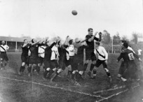The All Blacks in a line-out against the Midland Counties