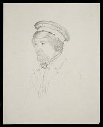Artist unknown :[Maori man with peaked cap. 1850s?]