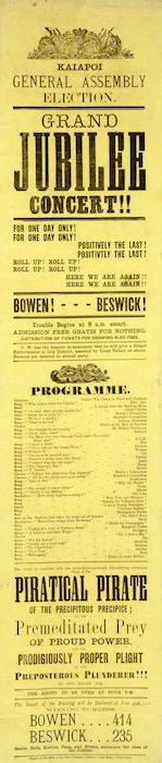 Kaiapoi General Assembly election. Grand Jubilee concert!! For one day only! Positively the last! Here we are again! ... Bowen 414, Beswick 235 / Printed at the Office of the Press Company, Cashel Street, Christchurch, [1875].