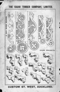 The Kauri Timber Company Ltd (Auckland Office) :Nine inch [and] twelve inch barge boards [and] eaves brackets. [Catalogue page. ca 1906].