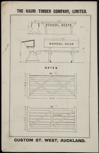 The Kauri Timber Company Ltd (Auckland Office) :School seats, school desk [and] gates. [Catalogue page. ca 1906].