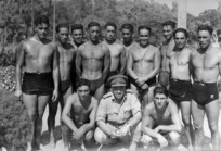 Members of the Maori Battalion at the New Zealand Division swimming champs at Maadi, Egypt, during World War II