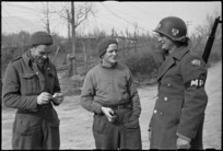 American on point duty with two Kiwis on 5th Army Front, Italy, World War II - Photograph taken by G Kaye