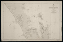 The west coast from Monganui Bluff to Manukau Harbour, the east coast from Tutukaka Hr. to Mayor Island including Hauraki Gulf [cartographic material] / surveyed by Captn. J.L. Stokes, Commander B. Drury, and the officers of H.M.S. Acheron and Pandora, 1849-55 ; J. & C. Walker sculpt.