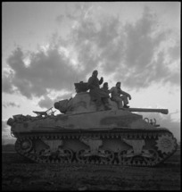Tank moving forward to cross the bridge over the Sangro in Italy, World War II - Photograph taken by George Kaye