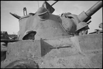 T M Alexander and A F Hare in the forward compartment of a Sherman tank, Italian Front, World War II - Photograph taken by George Kaye