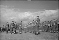 General Freyberg inspects 6 NZ Infantry Brigade in the Volturno Valley, Italy, World War II - Photograph taken by George Kaye