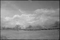 General view of parade of 6 NZ Infantry Brigade in the Volturno Valley, Italy, World War II - Photograph taken by George Kaye
