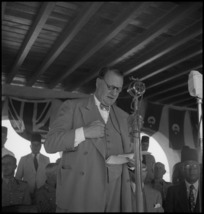 Lord Killearn speaking at the opening of freshwater baths at Helwan, Egypt - Photograph taken by H Paton