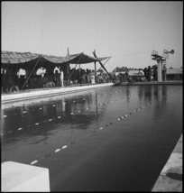 General view of the new baths at Helwan, Egypt, with racing lanes marked on the water - Photograph taken by H Paton