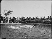 A race in progress at the Helwan freshwater baths on opening day, Egypt - Photograph taken by H Paton