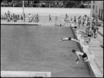 Start of second heat in the invitation race at 19 NZ Armoured Regiment swimming sports, Cairo - Photograph taken by G Kaye