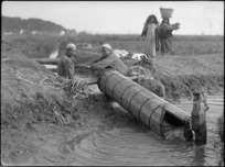 Archimedian screw in use for irrigation, Egypt - Photograph taken by George Kaye