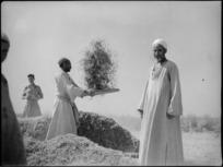 Man winnowing near Tura, Egypt - Photograph taken by George Kaye