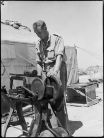 Power hacksaw in use at 4th Armoured Brigade workshops in Maadi, Egypt - Photograph taken by George Kaye