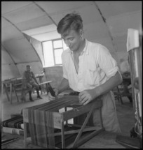 J S Beaumont at work in the Occupational Therapy Ward of 2 NZGH Kantara, Egypt - Photograph taken by George Kaye