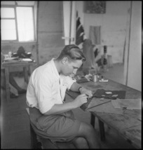 W Bough making perspex trinkets in occupational therapy at 2 NZGH Kantara, Egypt - Photograph taken by George Kaye