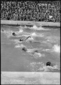 Backstroke race in NZ Artillery versus South African Artillery sports at Maadi Baths, Egypt - Photograph taken by George Kaye