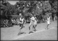 First lap of 880 yards running race at NZ versus South African Artillery sports at Maadi Sports Club grounds, Egypt - Photograph taken by George Kaye