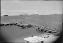 Part of panorama of pontoon bridge across Suez Canal rebuilt by NZ engineers, World War II - Photograph taken by George Kaye