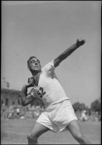 J Sutherland, winner of shot put, at the NZ Division Athletics Championships, Cairo, Egypt, World War II
