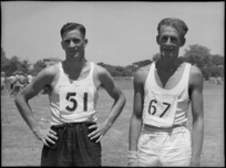 Findlay, winner of the 440 yards, with Poultney, runner up, at NZ Division Athletics Championships, Cairo, Egypt - Photograph taken by George Kaye