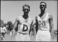 R E Johnston, winner of 880 yards race, with C Dickie at NZ Division Athletics Championships, Cairo, Egypt, World War II - Photograph taken by George Kaye