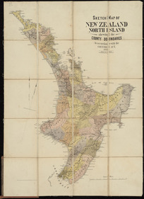 Sketch map of New Zealand, North Island [cartographic material] : shewing the county boundaries in accordance with the Counties Act, 1876 / drawn by A. Koch.