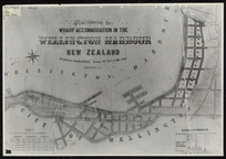 Plan showing the wharf accommodation in the Wellington Harbour, New Zealand [cartographic material] / drawn by A. Koch, 1886.