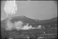 Enemy shelling and counter smoke screen near San Pietro, Italy, World War II - Photograph taken by George Kaye