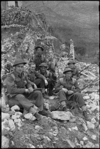 Group of New Zealanders during spell in fighting on the Cassino Front, Italy, World War II - Photograph taken by George Kaye