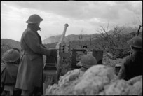 NZ anti aircraft crew stands to in readiness during initial stages of Cassino assault, Italy, World War II - Photograph taken by George Kaye