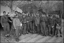 Intelligence officers photographed afer a conference of the NZ Corps on the Cassino Front, Italy, World War II - Photograph taken by George Kaye