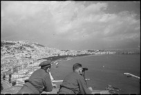 Two New Zealanders view Mt Vesuvius in eruption, Italy, World War II - Photograph taken by George Kaye