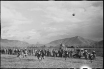 Spectators watching play in rugby match in the Cassino area, Italy, World War II - Photograph taken by George Kaye