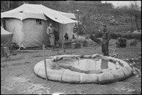 One of the canvas storage tanks belonging to 4 NZ Field Hygiene Section on the Italian Front, World War II - Photograph taken by George Kaye