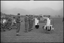 General Freyberg and senior officers at NZ Army Service Corps church parade in Volturno Valley area, Italy, World War II - Photograph taken by George Kaye