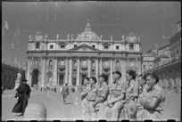 World War 2 New Zealand soldiers at St Peter's Church, Rome, Italy