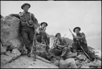 Four New Zealanders on the Cassino battlefront, Italy, World War II - Photograph taken by George Kaye