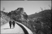 Ancient castle of Cerro seen from the road to the village, Italy - Photograph taken by George Kaye