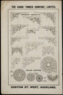 The Kauri Timber Company Ltd (Auckland Office) :Verandah brackets [and] ceiling centres. [Catalogue page. ca 1906].