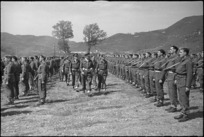 General Freyberg inspecting 5 NZ Infantry Brigade at ceremonial parade in the Volturno Valley, Italy, World War II - Photograph taken by George Kaye