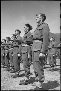 Members of the 5 NZ Infantry Brigade lined up on ceremonial parade in the Volturno Valley, Italy, World War II - Photograph taken by George Kaye