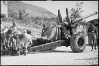 One of the big guns being brought forward as Allies advance past Cassino, Italy, World War II - Photograph taken by George Kaye