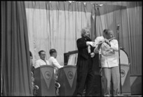 Terry Vaughan as Leopold Popoffsky, the Mad Maestro, in Kiwi Concert Party performance, Italy - Photograph taken by George Kaye